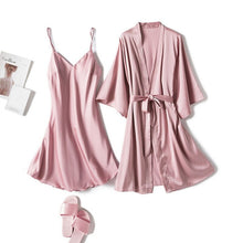 Load image into Gallery viewer, 2020 Long Sleeve Women Robe Silk Dressing Gowns Lingerie Set Bathrobe Ladies Summer Autumn Sexy Nightgown Nightdress