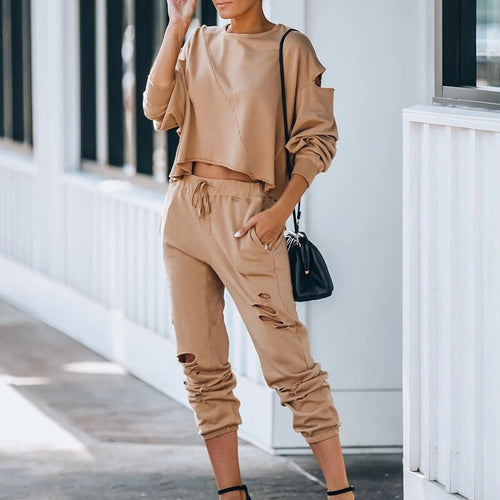 2020 Casual Hole Tracksuit Two Piece Set Women Tops and Pants Outfits Autumn Women Cotton Solid Sweatpants Set Women Pullover