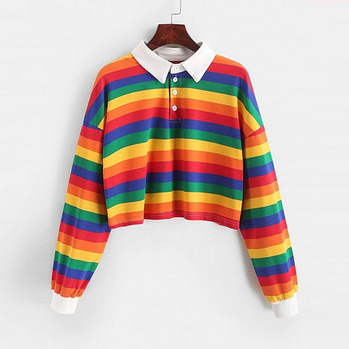 2020 Polo Shirt Women Sweatshirt Long Sleeve Rainbow Color Ladies Hoodies With Button Striped Korean Style Sweatshirt Women