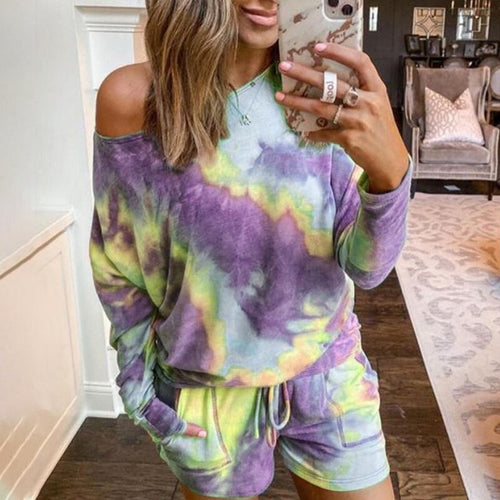 Women Spring casual Tie-dye Two Piece Outfits Tracksuit Long Sleeve Top and Shorts Suits Summer 2pcs Matching Sets Lounge Wears