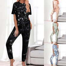 Load image into Gallery viewer, 2020 Casual Daily Women Wears Tie-dye Jumpsuit Short Sleeve Round Collar Pockets Full Pants New Style Fashion Lady Rompers