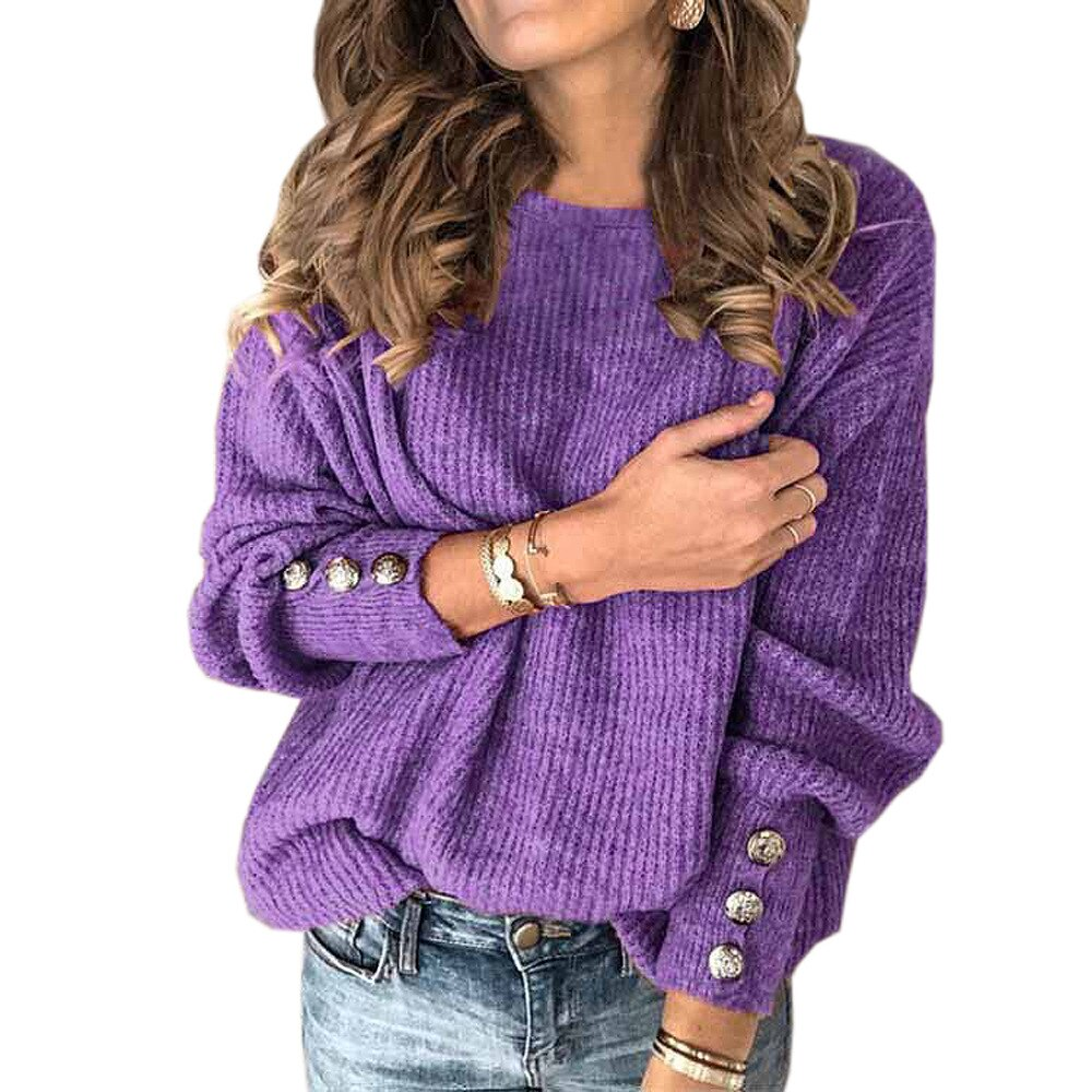 Women Autumn Winter Knitted Sweaters O-neck Long Sleeve Button Decoration Sweater Tops Ladies Casual Jumper Plus Size Dropship