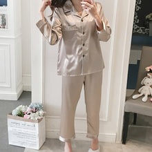 Load image into Gallery viewer, Women Pajama Sets Silk Satin Pijama Turn-down Collar Sleepwear Long Sleeve Spring Nightwear Femme 2 Pieces Sets Homewear
