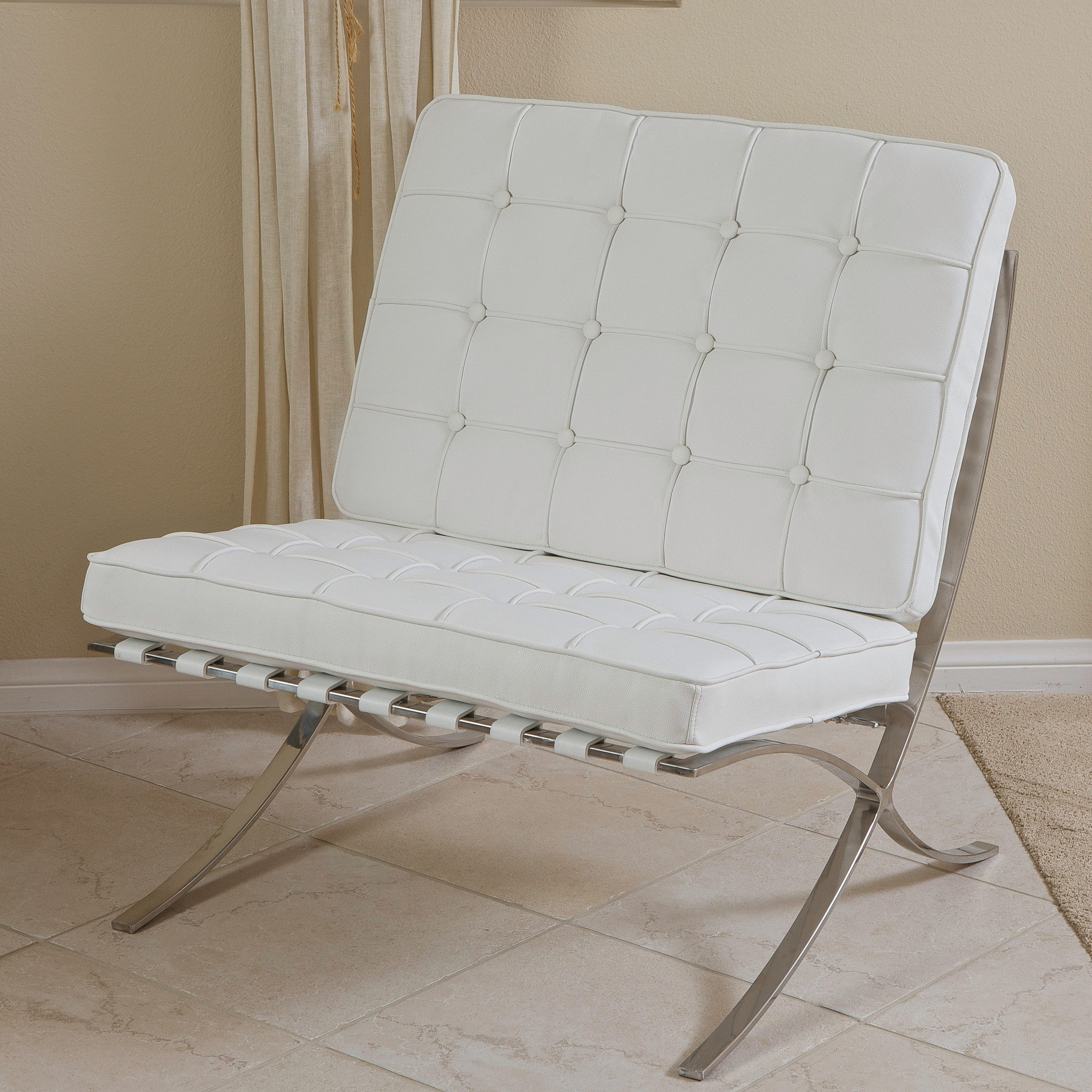 pavilion white leather modern accent chair