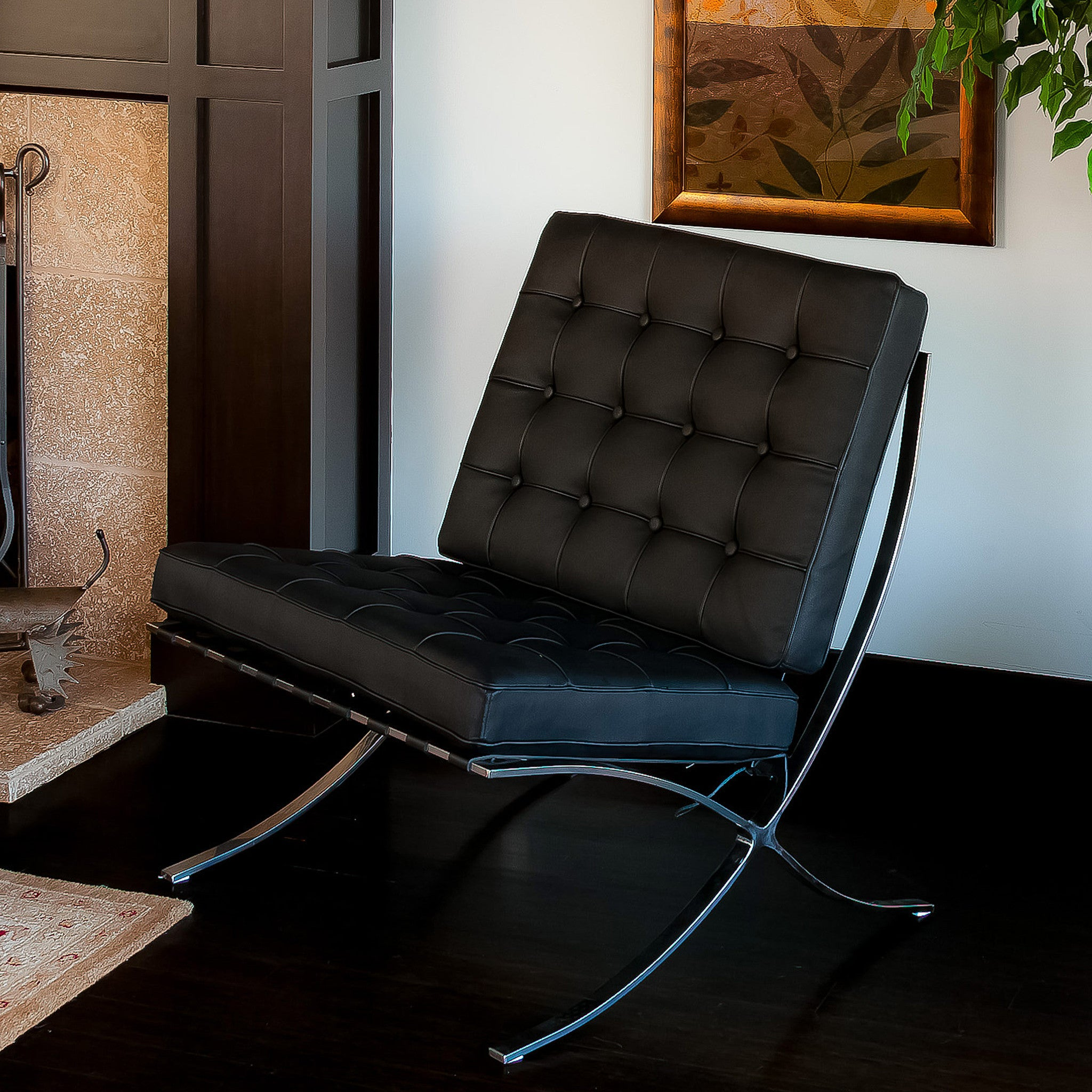 pavilion black leather modern accent chair – nhmodern - pavilion black leather modern accent chair