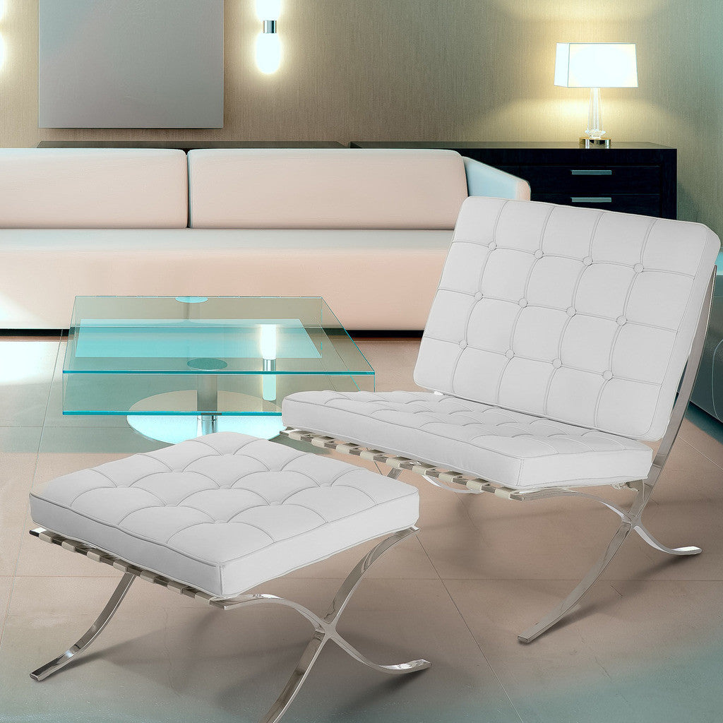 Leather Accent Chair With Ottoman Pavilion White Leather Accent Chair Ottoman Set Nhmodern