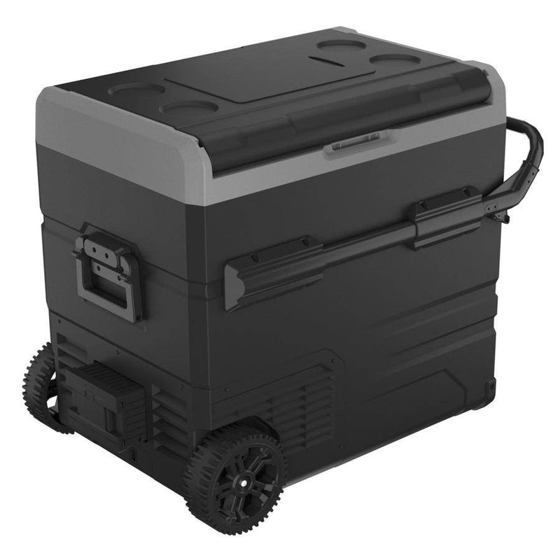 55L Brass Monkey Portable Dual Zone Fridge / Freezer with Handles + Wheels - Home of 12 Volt Online