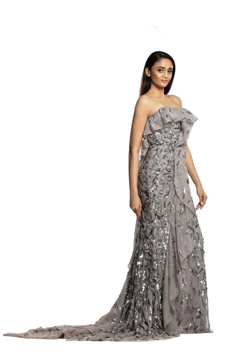 Silver grey mermaid ruffle gown