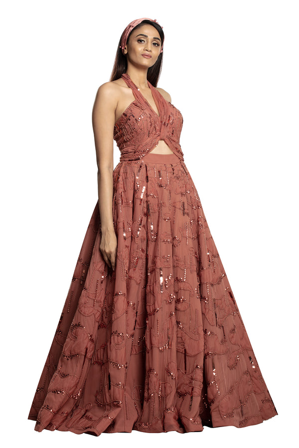Halter dawn rose big gown
