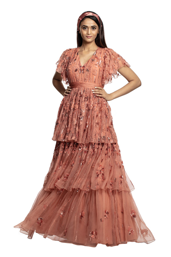 Blush 3 Tier Gown With Sleeves