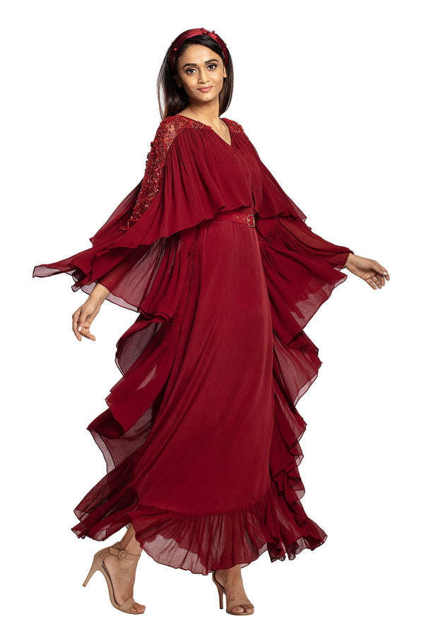 Oxblood Kaftan With Belt