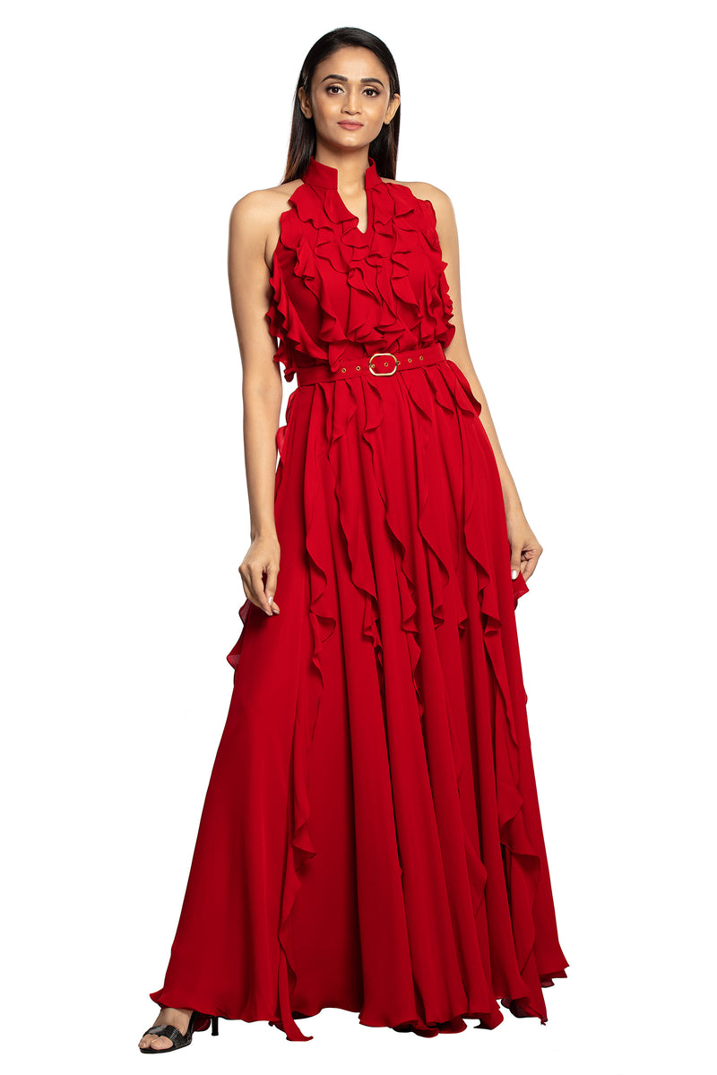 Bright red ruffle long gown