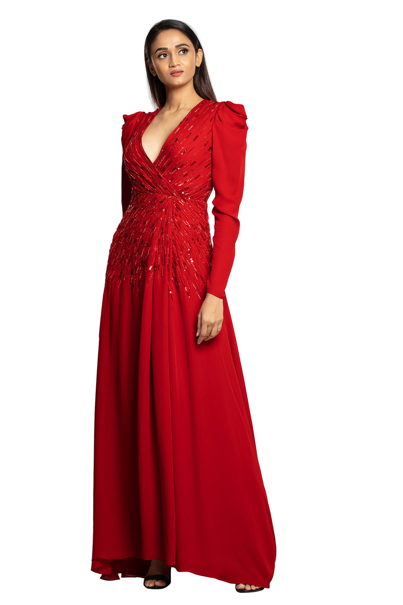 Bright red starry full sleeves gown