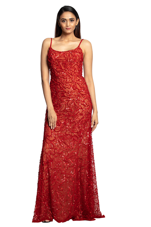 Bright red sequin spaghetti gown