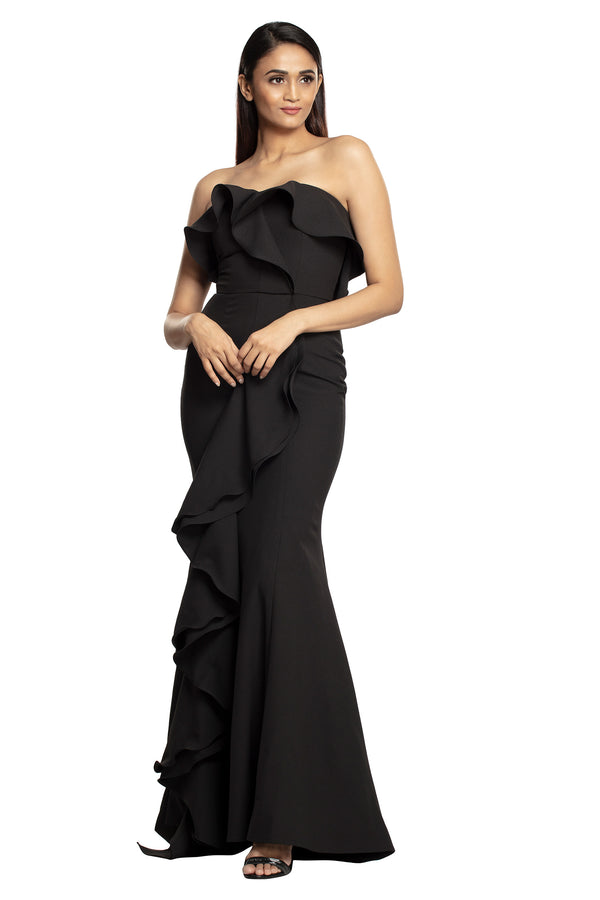 Black Ruffle Gown