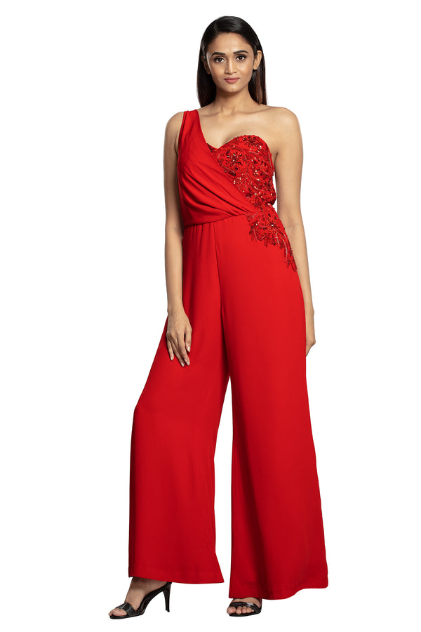 Bright red jumpsuit