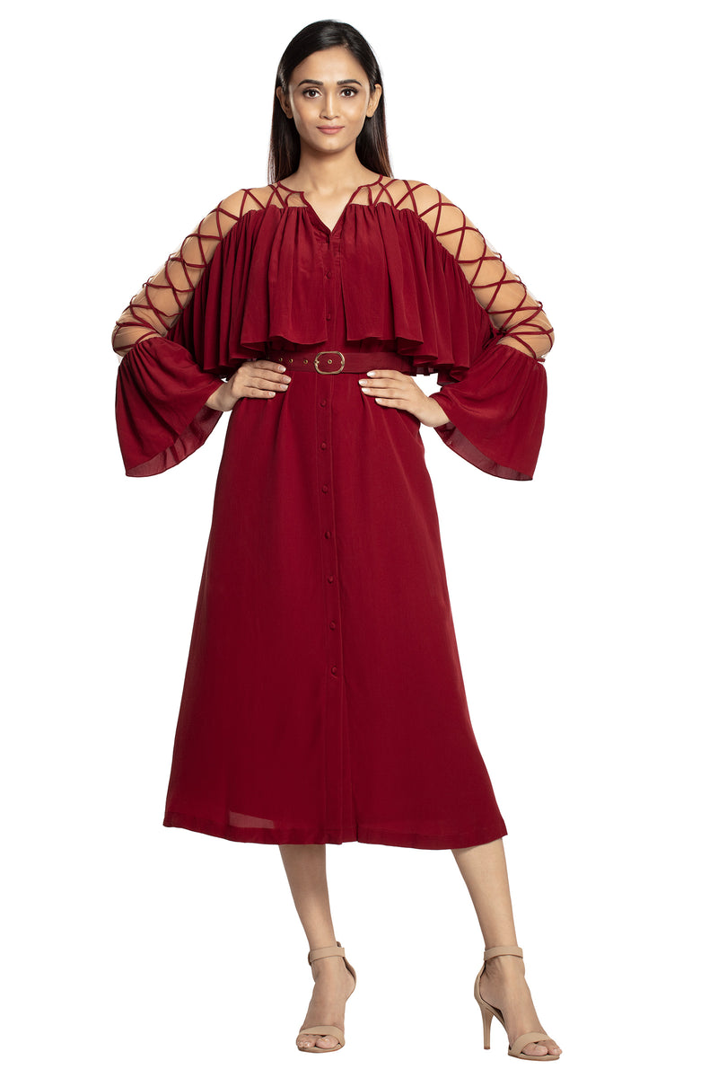 Oxblood criss cross maxi dress