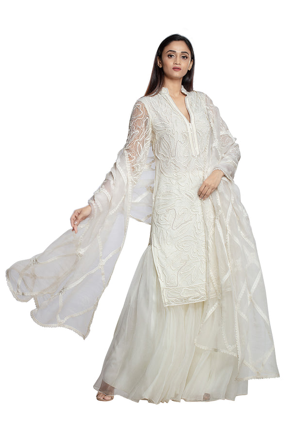 Ivory Thread Embroidered Suit