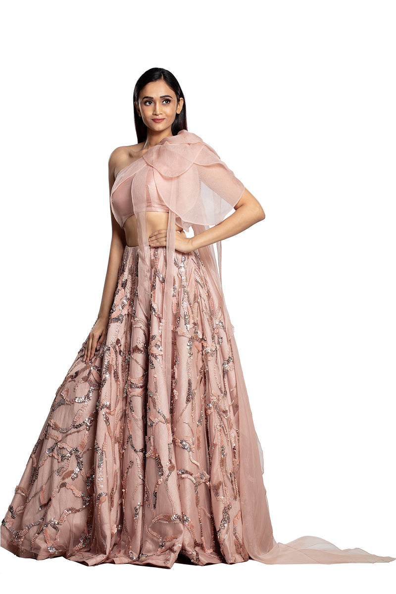 Lehenga with bow petal one shoulder blouse