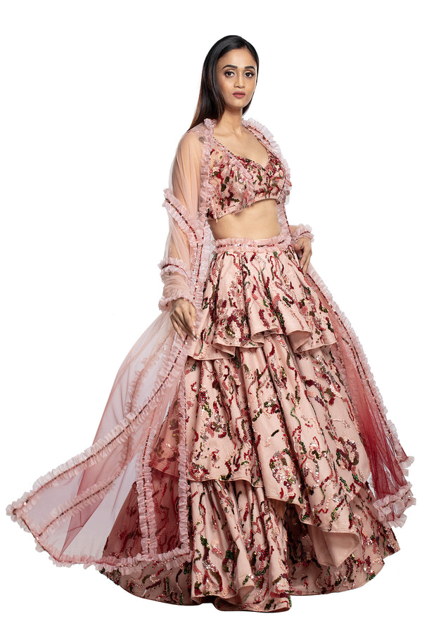 Lily multi tier lehenga Set
