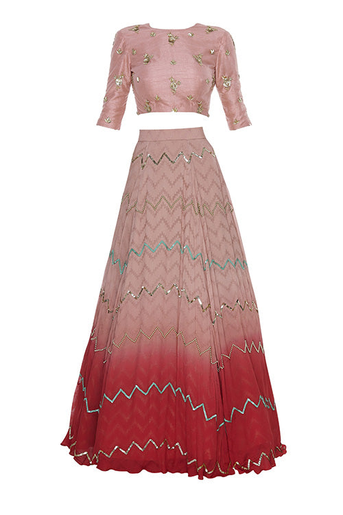 Dawn Rose Red Ombre Chevron Zari Lehenga