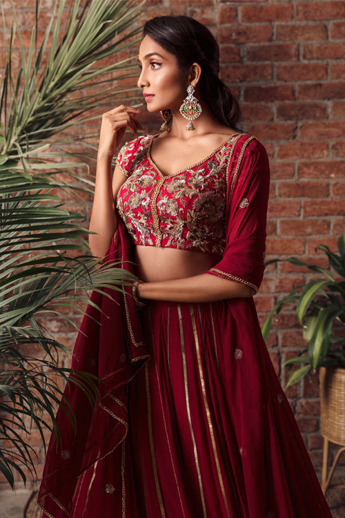 Red Gota Lehenga With Zardozi Chain Embroidery
