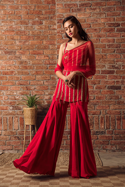 Red Grapevine Chain Zardozi Pintuck Sharara Set