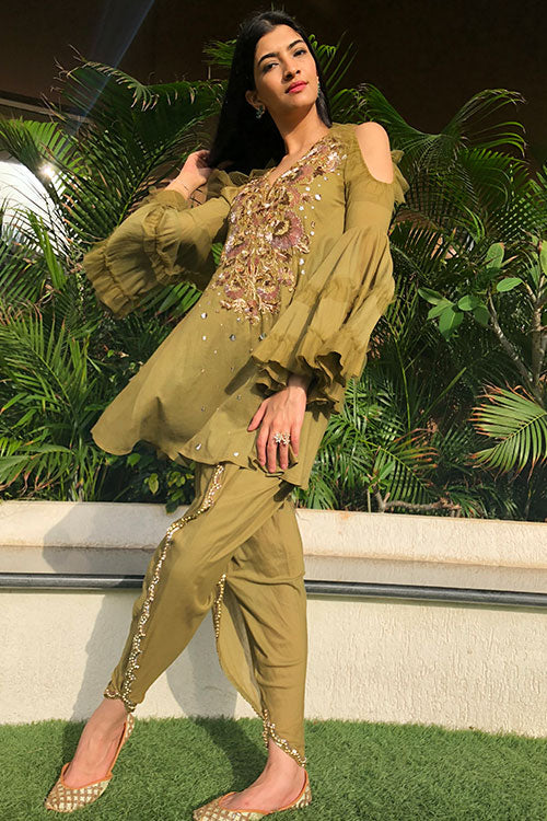 Khaki Olive Zardozi And Hand Beaded Baroque Neck Kurta And Tulip Salwar Set With Ruffle Frill Details