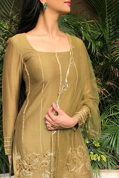 Khaki Olive  Chain And Gold Zari Sharara Set With 3D Flowers