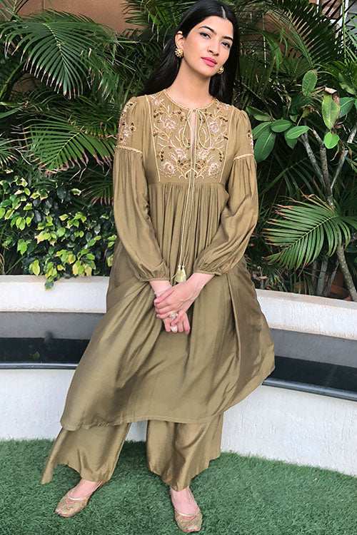 Khaki Olive Bishop Sleeve Chain Zardozi Kurta Dress And Pant Set