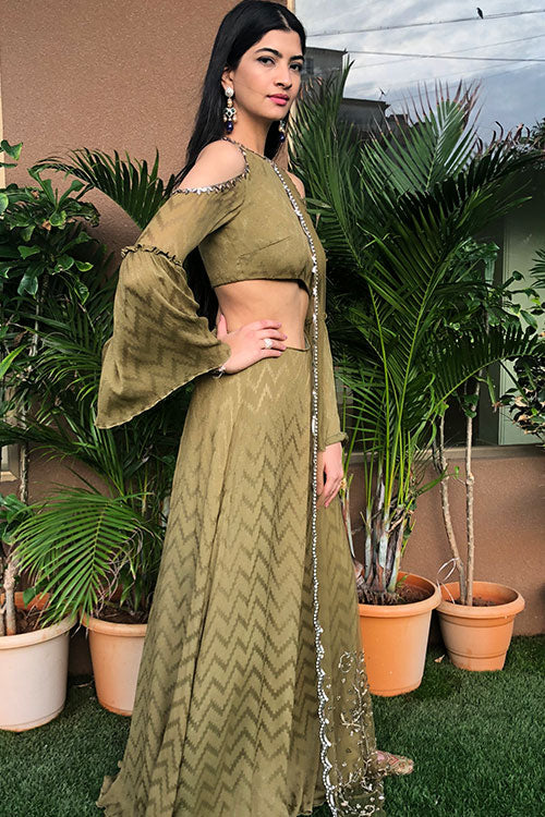 Khaki Olive Cutout Anarkalli Gown With Hand Beaded Zardozi Gunmetal Silver Work Drape