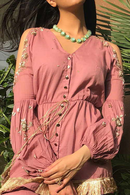 Onion Drawstring Peplum Kurta And Tulip Salwar Set Finished With Zardozi And Hand Beading