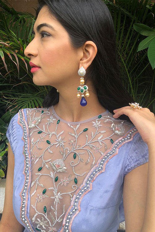 Lavender Bejewelled Emerald Hand Beaded Neck Anarkalli Gown With Attached Cape