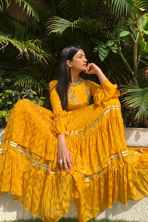 Mustard Frill Tier Kalidaar Suit With Zardozi Gota And Hand Cut Floral Embroidery