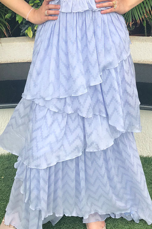 Lavender Asymetrical Ruffle Tier Anarkalli Gown With Chain Zardozi And Hand Cut Floral Work In Yoke
