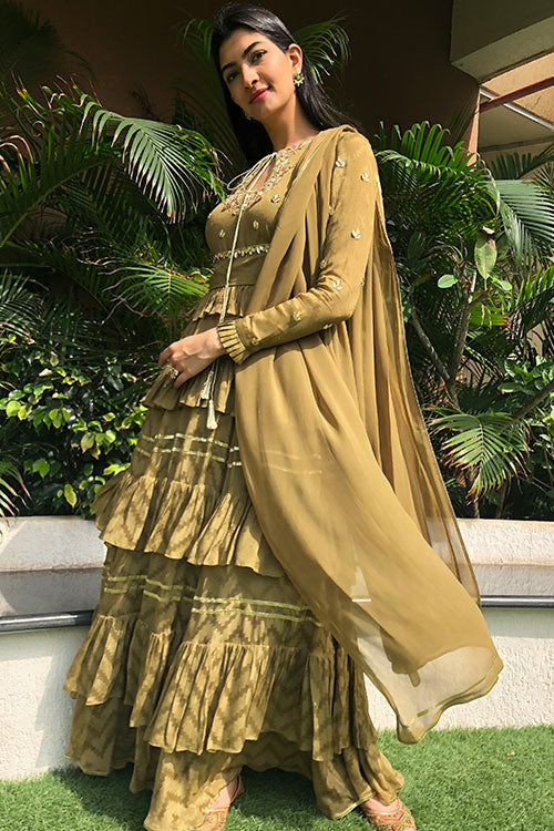 Olive Frill Tier Kalidaar Suit With Zardozi Gota And Hand Cut Floral Embroidery