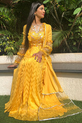 Mango Yello Kurta Gown Set  Handbeaded Yoke And Ruffle Frill Details