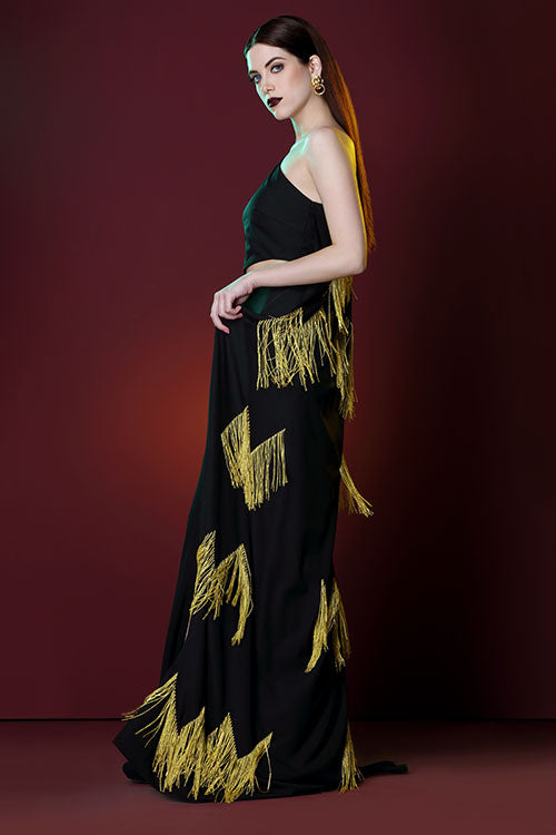 One Shoulder Sahara Heartbeat Fronge Embroidered Cape Gown With Wait Cut Outs And A High Slit