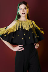 Cold Shoulder Hand Embroidered Fringe Cape Top With Floral Sequin Bunches
