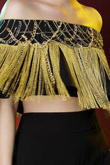 Chain And Fringe Embroidered Off Shoulder Cape Top