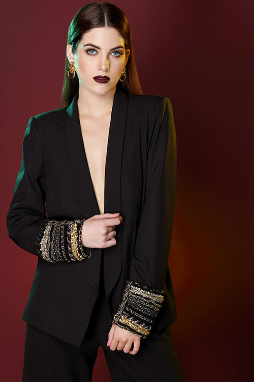 Chain Embroidered Pant Suit With Cullotes