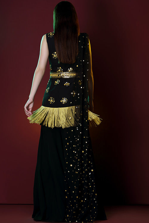 Hand Beading And Fringe Embroidered Sharara Belt And Pre Draped Beaded Dupatta Set