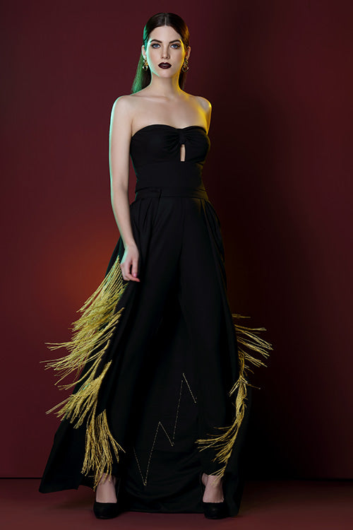 Jumpsuit Gown With Detachable Skirt And Hand Embroidered Gold Chevron Pattern Fringes