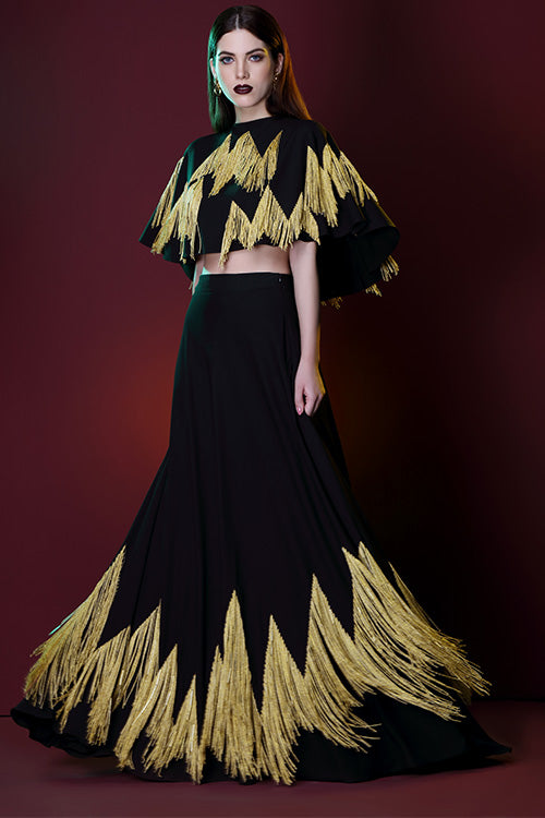 Chevron Heartbeat Lehenga Skirt With Hand Embroidered Gold Fringes Comes Attached With Can Can