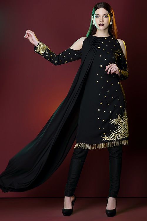 Cape Kurta Cold Shoulder Drouser With Gold Kasab Hand Beading And Sequin Embroidery