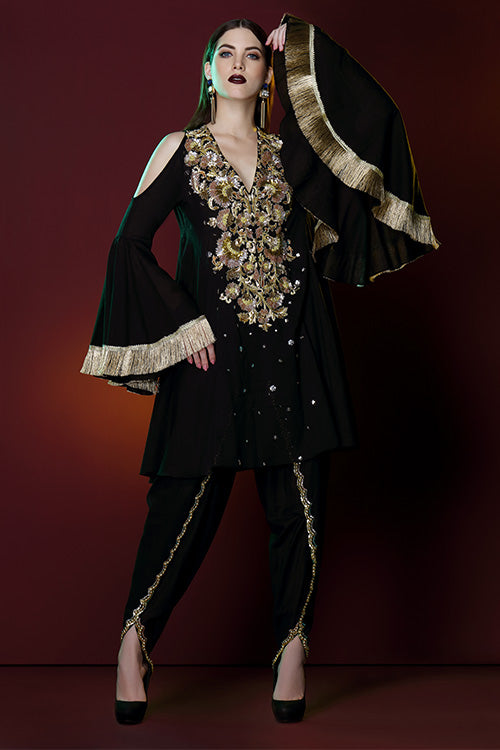 Gold Braroque Kurta With Zardozi Sequin Stone Work And Hand Beaded Tulip Pant Set