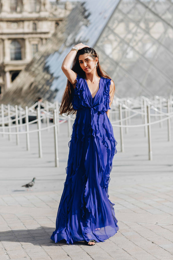 Blue ruffled long gown