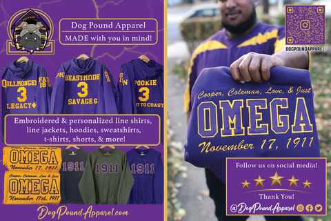 Dog Pound Apparel - Official business card. Connect with us for your custom and embroidered Que Psi Phi line jackets, sweaters, and vintage shorts.