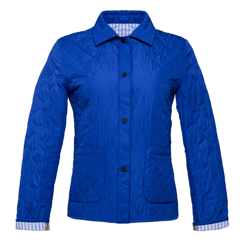 Agata Quilted Coat in Cobalt