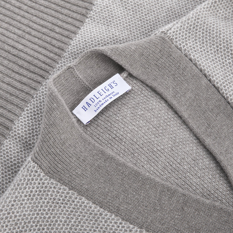 Lindsay Cashmere Cardigan in Grey Herringbone
